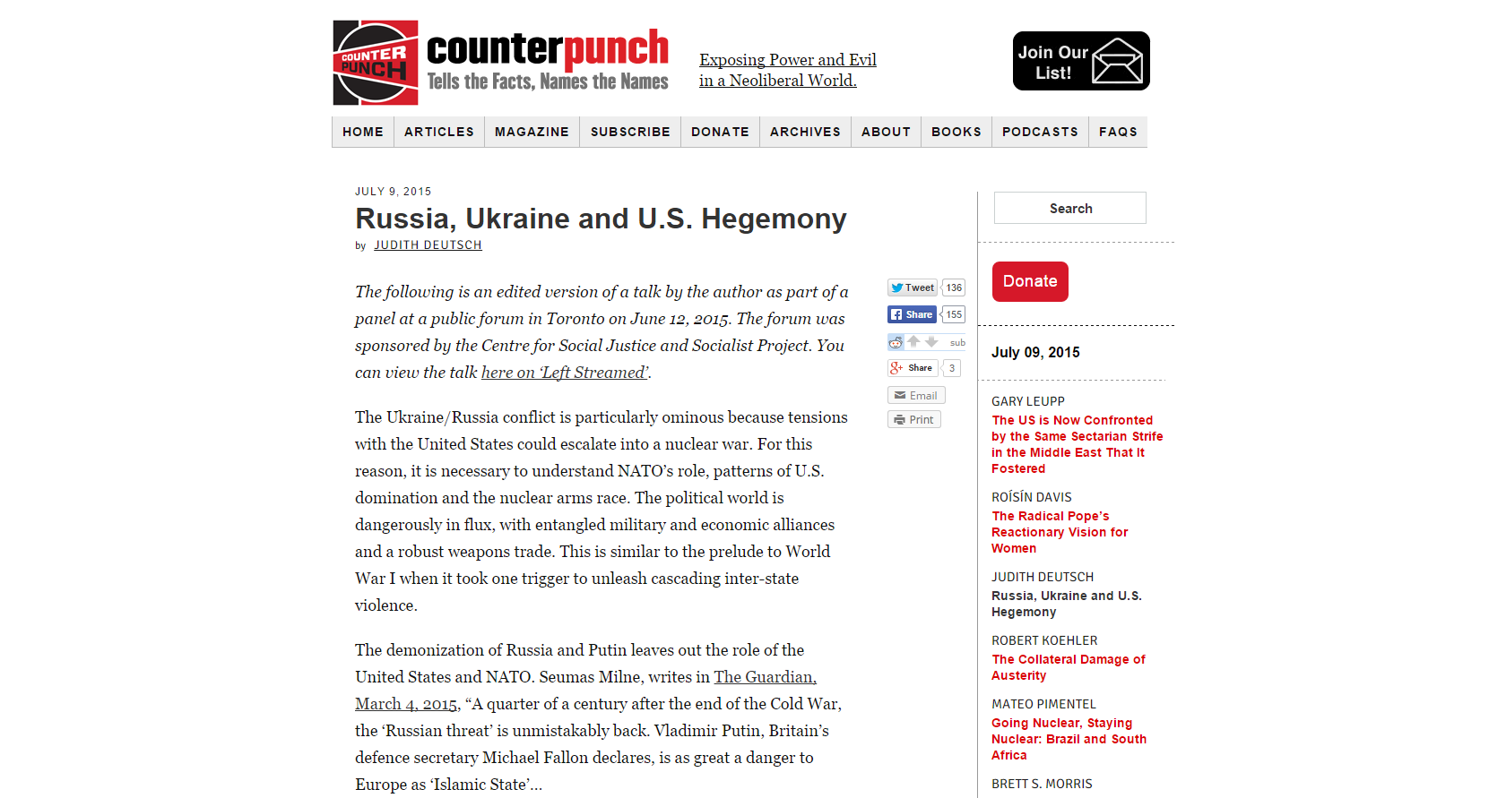 U.S. Hegemony, Ukraine and Russia – This Article Connects The Dots