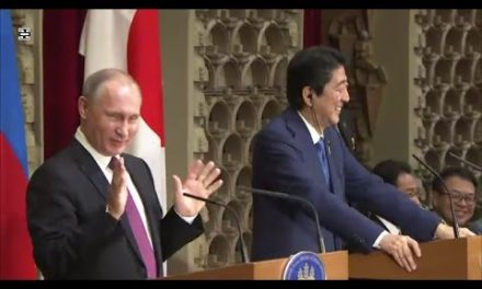 Putin and Abe Holds a News Conference After Talks