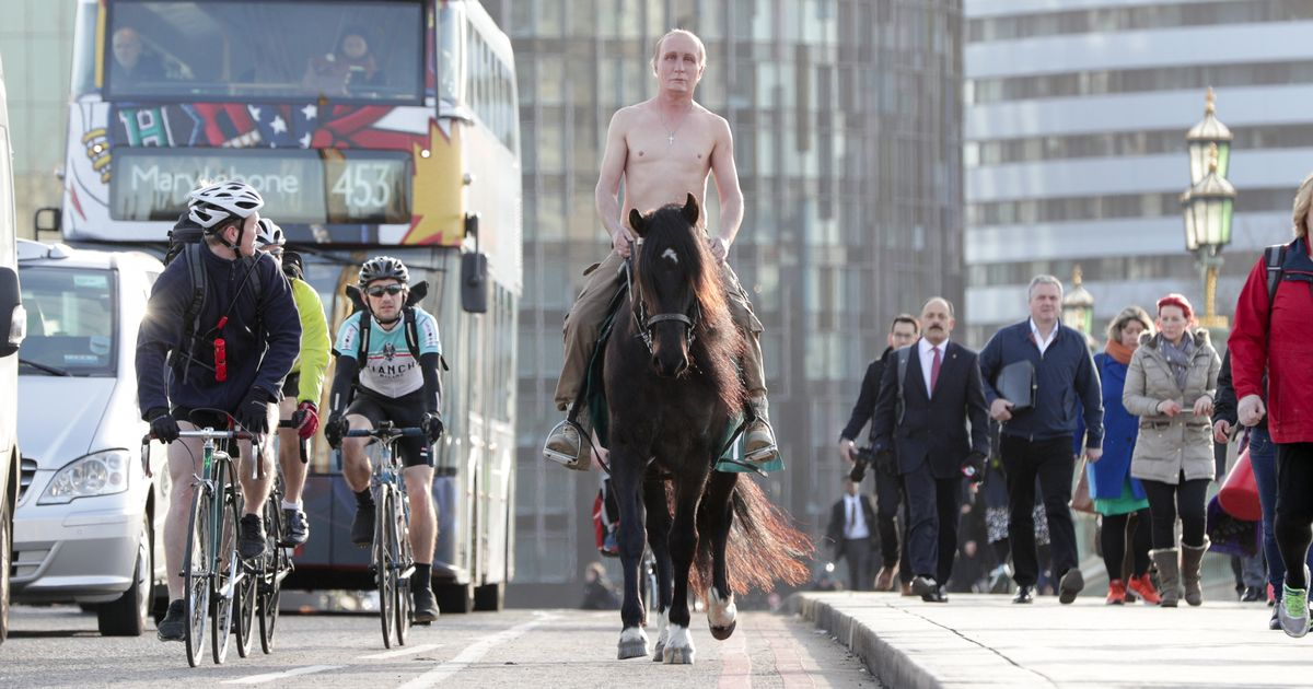 Russian President' Vladimir Putin' shows up to recreate his renowned partially nude equine flight throughout Waterloo Bridge -Mirror co.uk