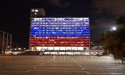 Tel Aviv town hall is brightened with the colours of the Russian flag afterSt Petersburg fear assault