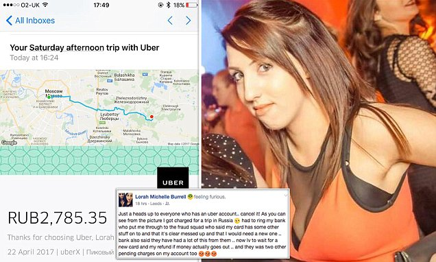 Leeds mom billed PS38for another person's Uber in MOSCOW – Daily Mail