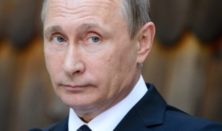 Vladimir Putin's celebration winning in Russian legislative political elections