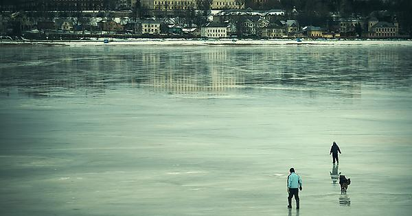 The Volga river in Russia in the winter months