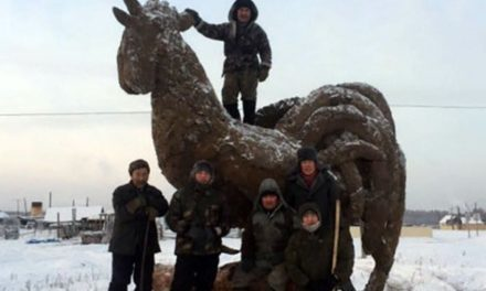 Artist in remote Russian town creates 11 -foot manure sculpture