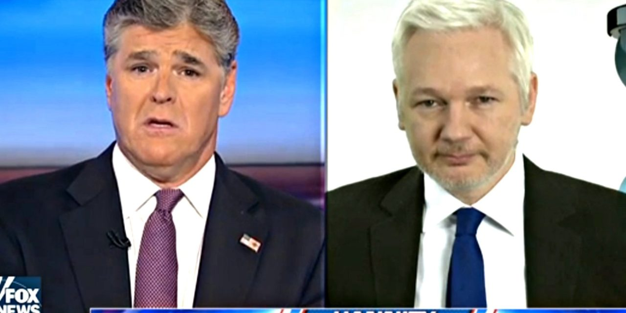 Sean Hannity Suddenly Loves Julian Assange Now That Hes Anti-Hillary