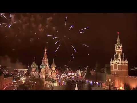 KREMLIN MOSCOW RUSSIA NEW YEAR'S EVE FIREWORKS 2018