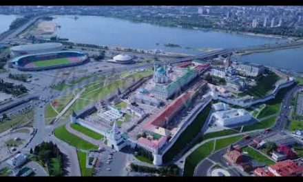 Panoramic sight of the KazanKremlin Kazan, Russia, From Dron