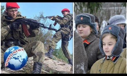 Inside Putin's young people military: Schoolchildren lug Kalashnikovs as Russia plans for battle