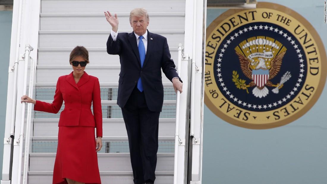 Trump gets here in Paris on 2nd Europe journey in a week