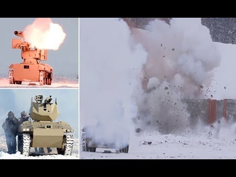 Vladimir Putin's accessory robotic tanks filmed vaporizing army objectives