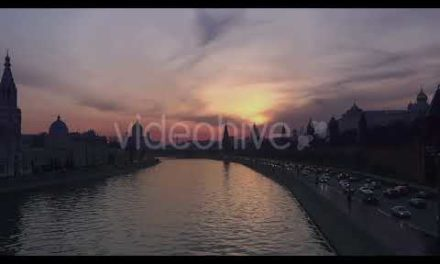 Moscow City as well as River – Kremlin Buildings – Sunset Twilight