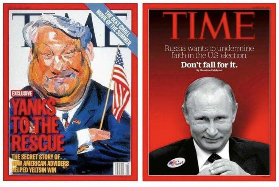 Two political elections twenty years apart, 2 various TIME publication whitewashes.