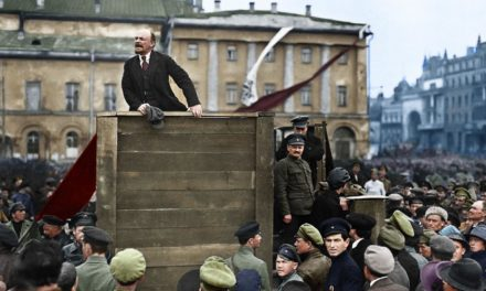 Lenin speaking with red military soldiers leaving for the front. Moscow, could 5th1920 Colorized by planetzero