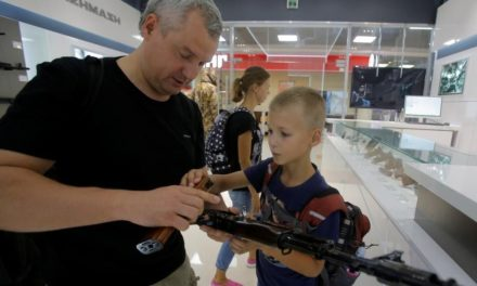 Gunmaker Kalashnikov opens up shop marketing reproduction AK-4 Sevens at Moscow flight terminal|Fox News