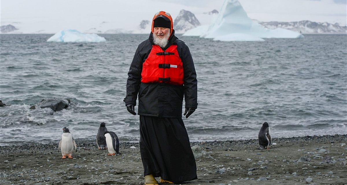 Head of Russian Orthodox church quizzes penguin on Antarctica go to