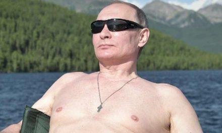 Putin vacationing shirtless in Siberia hills
