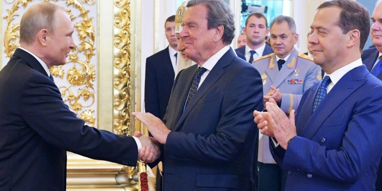 Vladimir Putins Favorite German, Ex-ChancellorGerhard Schrder, At the Russian's Inauguration and also on the Kremlin Payroll