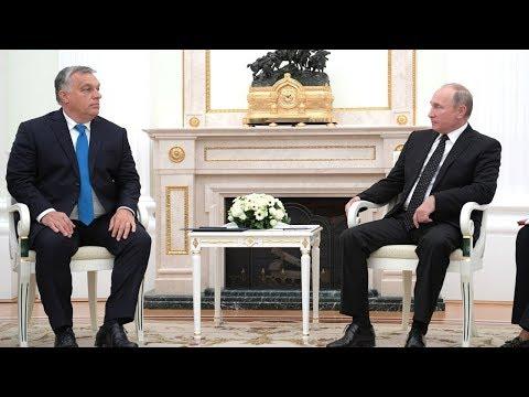 Vladimir Putin Receives in Kremlin Hungary PM Viktor Orban