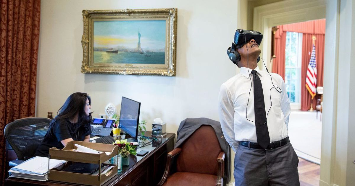 Obama examined out a Virtual Reality headset and also the net Photoshopped the heck out of him