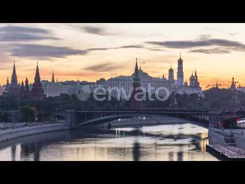 Moscow Kremlin and also Moscow River in the Summer Morning in Russia|Stock Footage – Videohive