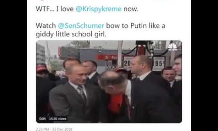 Watch @SenSchumer acquiesce Putin like a woozy little college lady.