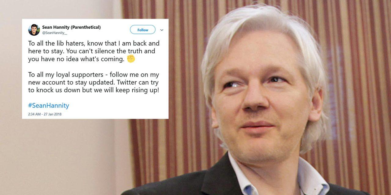 Julian Assange messaged a counterfeit Sean Hannity account on Twitter