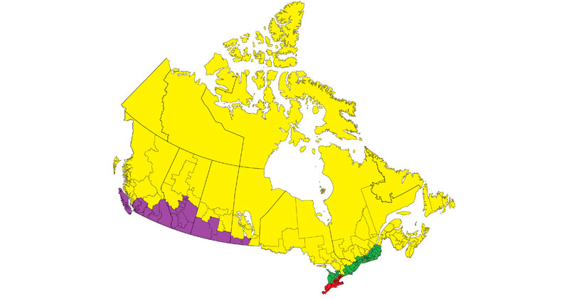 Each Colored Area is Approximately 1/4 of Canada's Population
