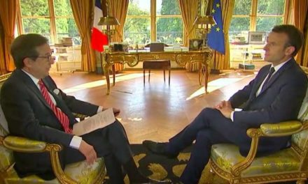 President Macron above family members along with america, Syria absolute Russia
