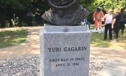 Bust Yuri Gagarin set up in Cleveland, Ohio USA