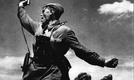 Soviet officer Alexey Yeremenko rallies his humen under flame before being killed minutes later, in one of the most iconic photos of the Great Patriotic War, 12 July 1942
